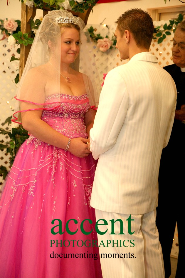 Dana and Dustin exchanging vows. Even after 8 years together, Dustin still got emotional.