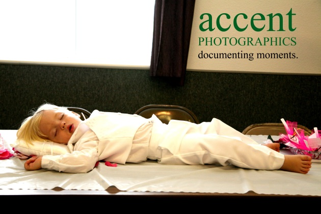 During the ceremony, the mini-groom - who was crying and cranky walking down the aisle - falls asleep exhausted.