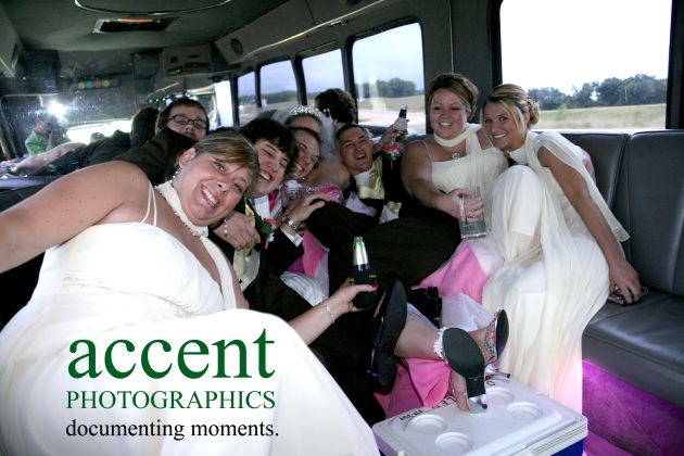 The party bus with the bridal party, alcohol and of course pop for the photographer and the young kids... If you look closely, you can see my reflection in the mirror.
