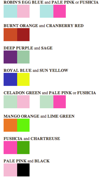 Wedding Wednesday Color Combinations