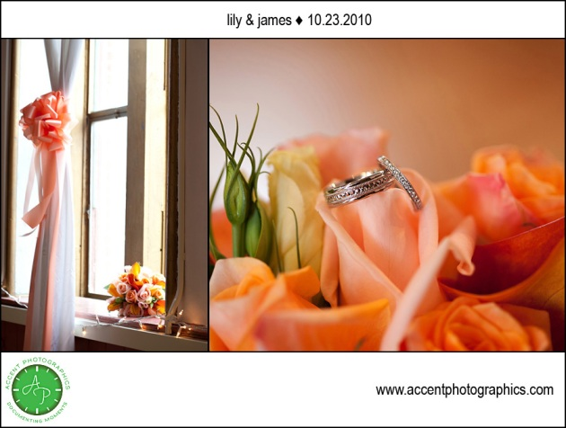 flowers by window and wedding rings