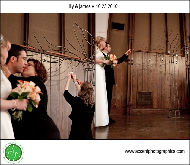 tree lighting ceremony at wedding