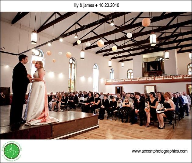 wedding ceremony at old brick iowa city
