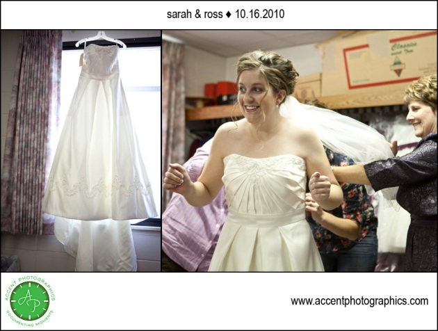 Bridal Gown and bride getting ready