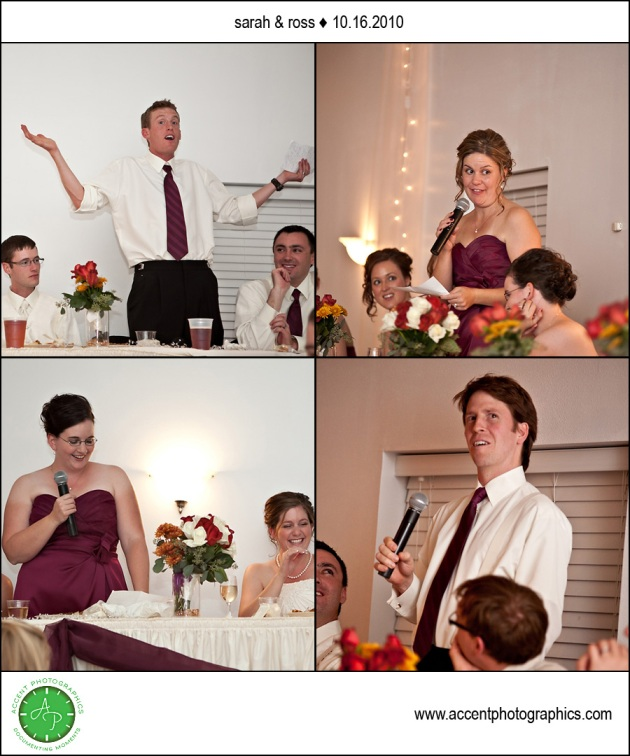 People giving wedding toasts